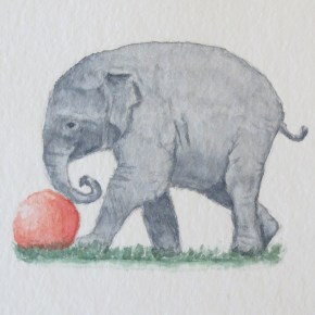 Elephant Nudging Little Red Ball by Addison : ACEO Original Watercolor Elephant Painting