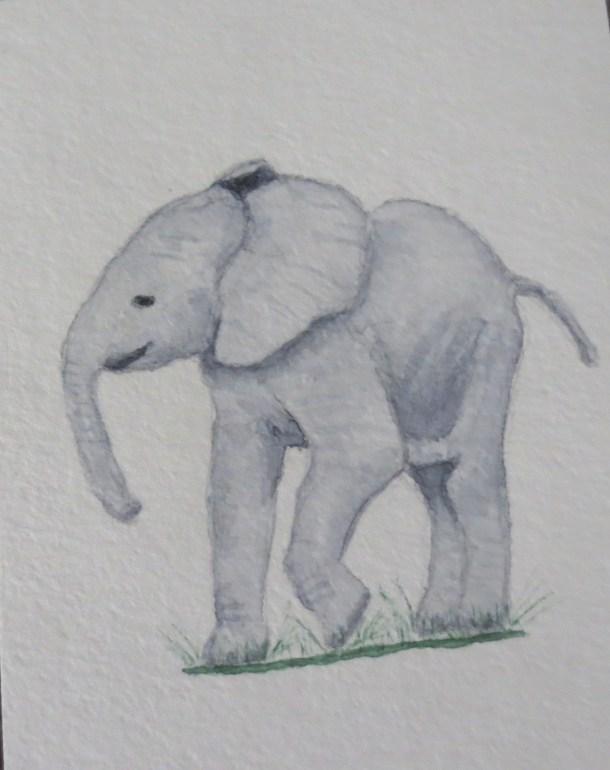 Elephant Art by Addison happy baby elephant grey ele walking smiling (8)