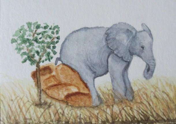 Elephant Art by Addison orange ele sitting on rock by tree (3)