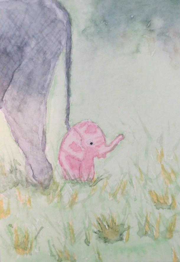 Elephant art by addison pink baby elephant POPPY AKA petals 2 (4)