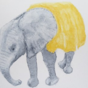 "Orphaned Baby Elephant Wearing Blanket, ""I Like Pie"" by Addison : ACEO Original Watercolor Elephant Painting"