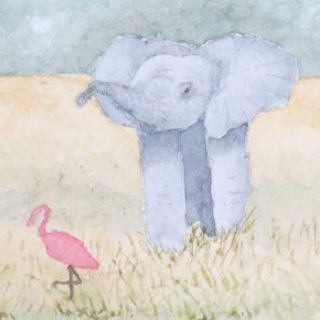 Baby Elephant Encounters Pink Flamingo by Addison : ACEO Original Watercolor Elephant Painting