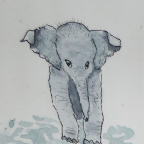 Baby Elephant Walking in Puddles, Original Watercolor & Ink Painting by Addison : ACEO Original Watercolor Elephant Painting