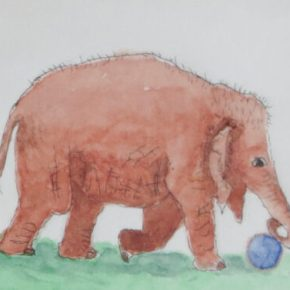 Elephant With Ball, Original Watercolor & Ink Painting by Addison : ACEO Original Watercolor Elephant Painting