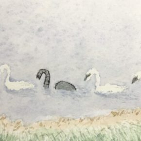 Baby Elephant in Stealth Mode, Original Watercolor & Ink Painting by Addison: ACEO Original Watercolor Elephant Painting