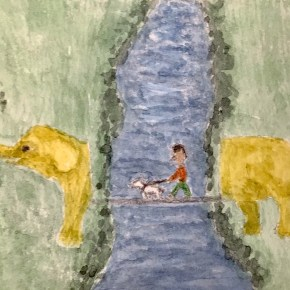 """Elephant Walk"", Surrealism by Addison: ACEO Original Watercolor Elephant Painting"