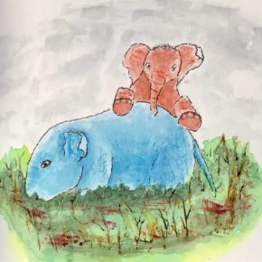 PALS, Original Watercolor & Ink Painting by Addison: Original Watercolor Elephant Painting