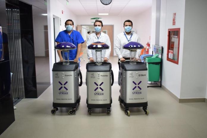 """El hospital cuenta con tecnología de punta como """"robots que desinfectan y acaban con todos los microorganismos incluidos el virus del SARS Cov2"""" .Foto: M.Sc. Marco Antonio Bonifaz Valverde MD"""