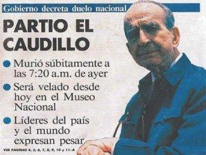 Portada del periódico La Nación, anunciando la muerte del Caudillo.