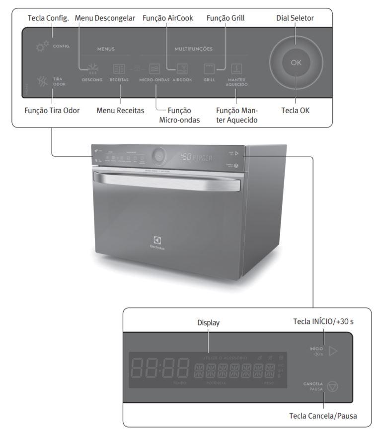 Como ajustar o relógio do Microondas Electrolux 32 litros com Aircook - MGA42 - Painel Controle