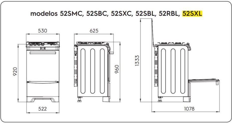 Medidas do fogão Electrolux 4 bocas - 52SXL