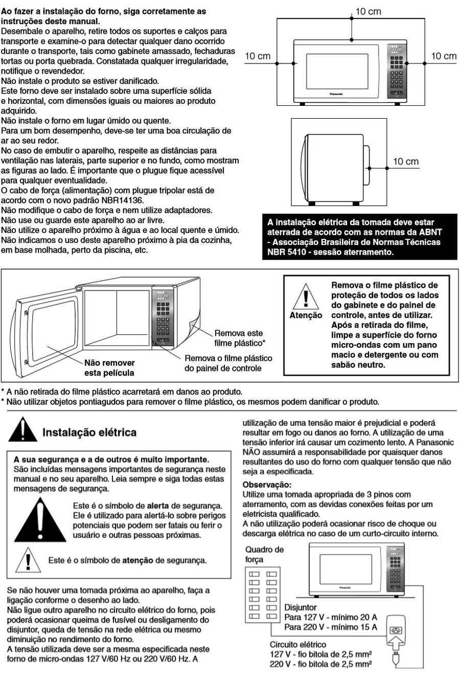 Manual de instruções do microondas Panasonic NN-GT68H - Instalação