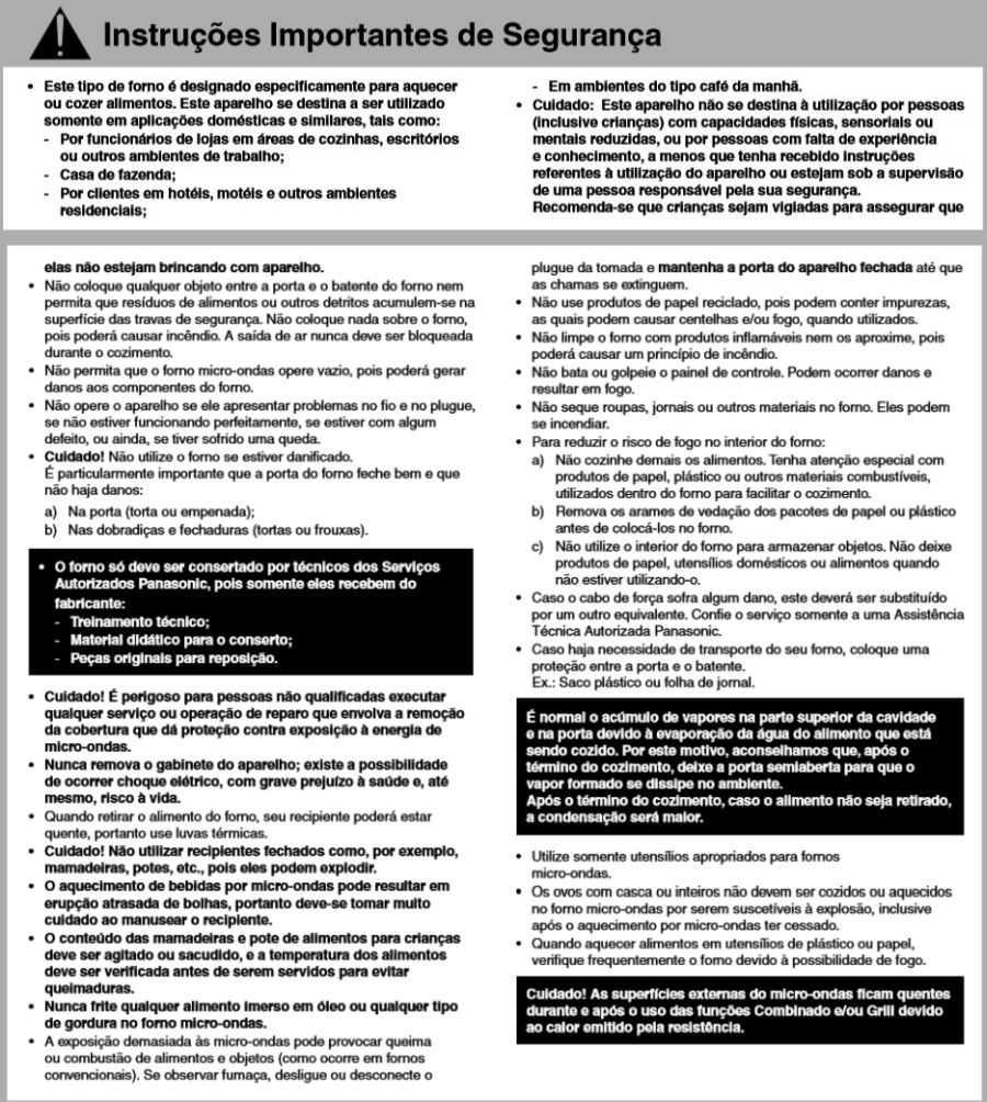 Manual de instruções do microondas Panasonic NN-GT68H - Segurança
