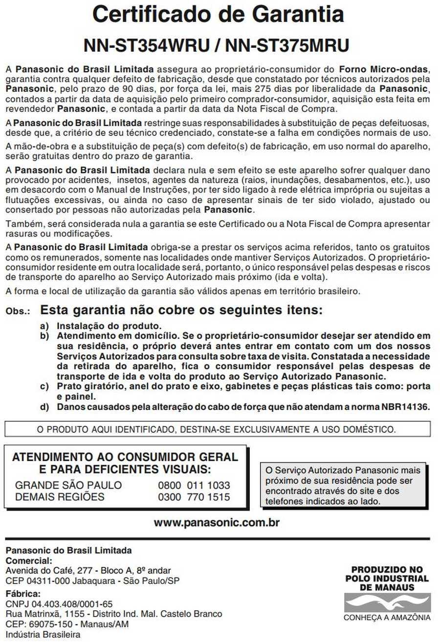 Manual de instruções do microondas Panasonic NN-ST375 - Certificado de garantia