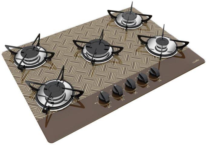 Medidas de Cooktop Casavitra 5 queimadores chama rápida new vitra chocolate