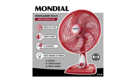 Medidas do Ventilador Mondial 40 cm Premium Red 6 Pás – V-73-6P