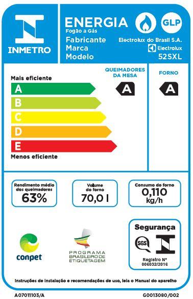 Fogão a gás Electrolux 52sxl -Selo procel