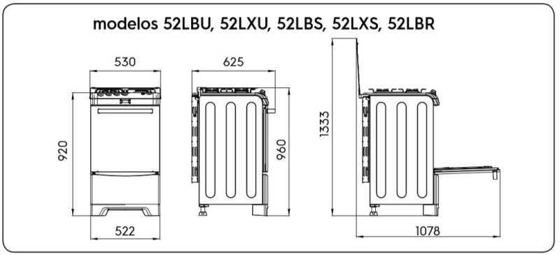 Fogão a gás Electrolux 52lbr - especificações técnica - dimensões