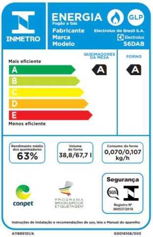 Fogão a gás Electrolux 56dab -Selo procel