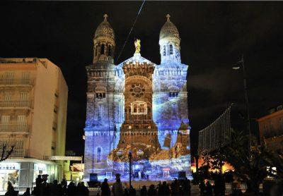 utazás lakóautóval st tropez - Saint-Raphaël, Fete de la Lumiere (a fény ünnepe), fényjáték