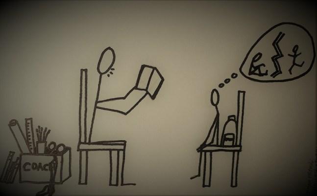 Un coach est assis face a un enfant et lui lit une histoire qui doit l'aider a reprendre confiance.