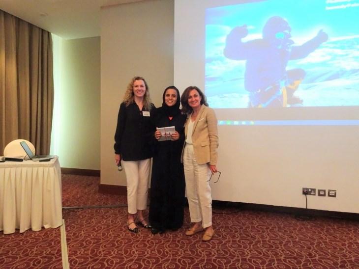 Hanady Alhashmi giving a talk for American Women's Network
