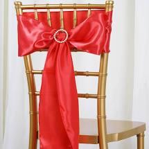 coral satin chair sash