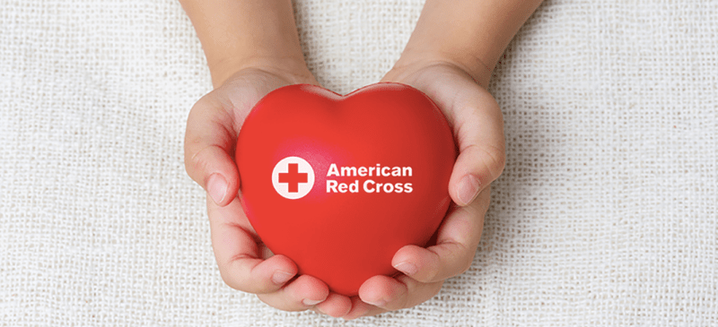 American Red Cross - hands holding a heart toy