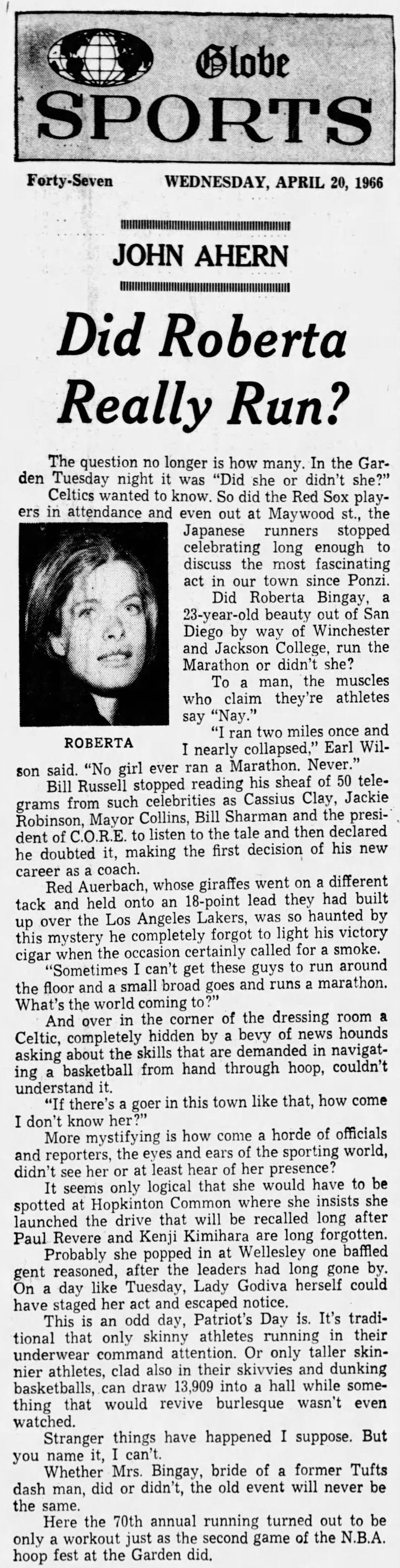 1966 news clipping about Bobbi Gibb - Boston Marathon