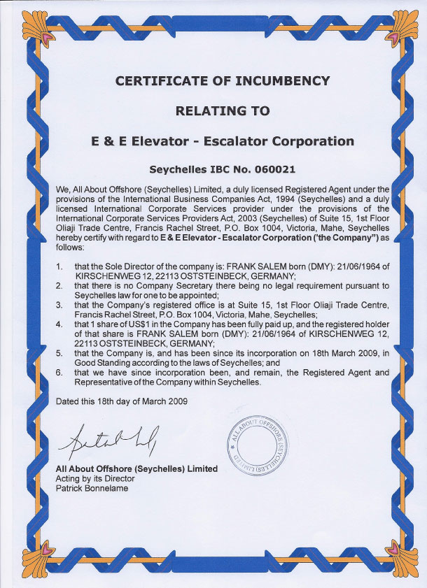 E & E - Certificate of Incumbency