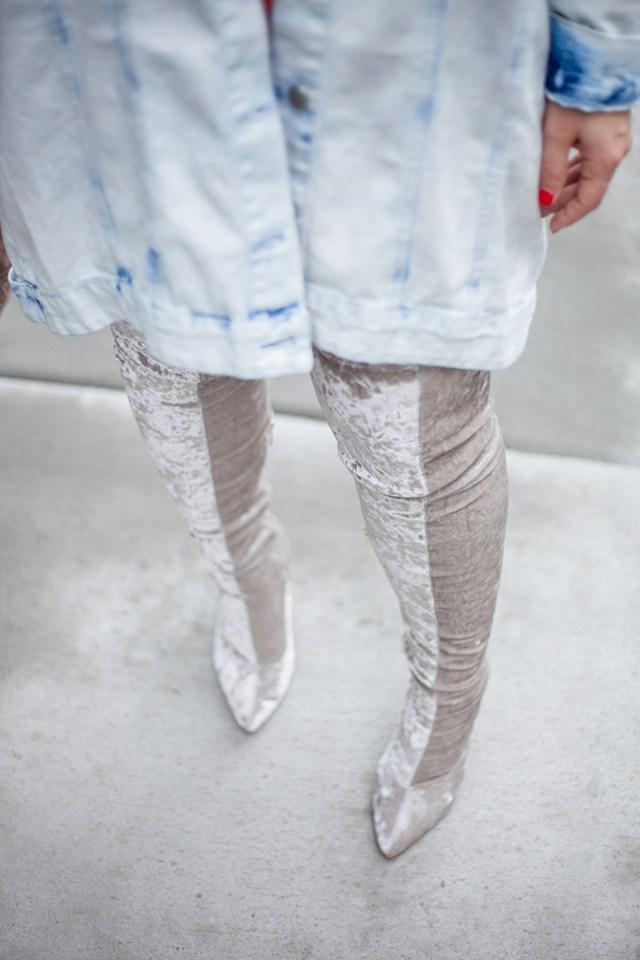 Velvet Thigh High Boots