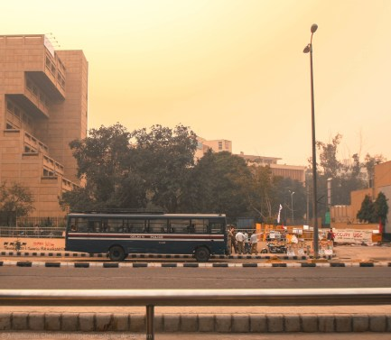 Located just outside the UGC building beside the ITO Metro Station, the site of occupation is guarded, round-the-clock, by a sizeable deployment of the city's police force with prospects for calling in reinforcements. The blue-red Delhi Police bus is always there - almost like a bouncer outside a nightclub.