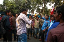 The blockade did not hinder the constant, undying din of revolutionary slogans against the government, with specific emphasis on the MHRD and the Union HRD Minister.