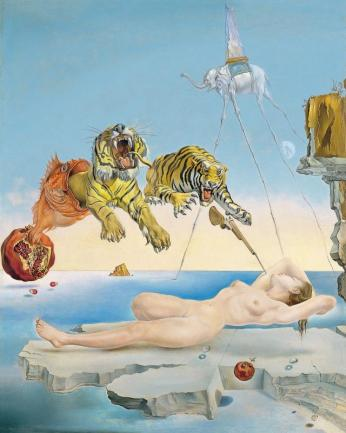 Sueño causado por el vuelo de una abeja alrededor de una granada un segundo antes de despertar (Dalí, 1944)