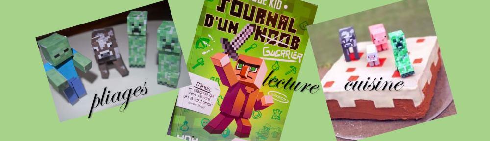Minecraft gâteau journal origamis