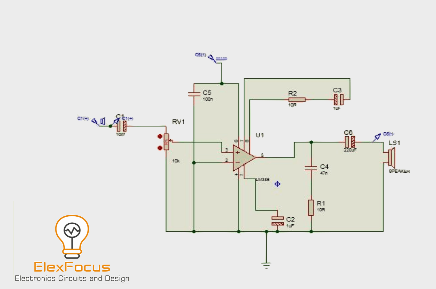 Lm386 Audio Amplifier Circuit With Proteus Simulation Elex Focus The 555 Bistable Electronics In Meccano
