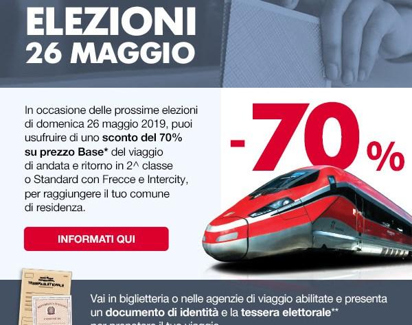 RIDUZIONE BIGLIETTO TRENO ELEZIONI 26 MAGGIO