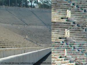 Lichtelfen im Olympiastadion in Athen