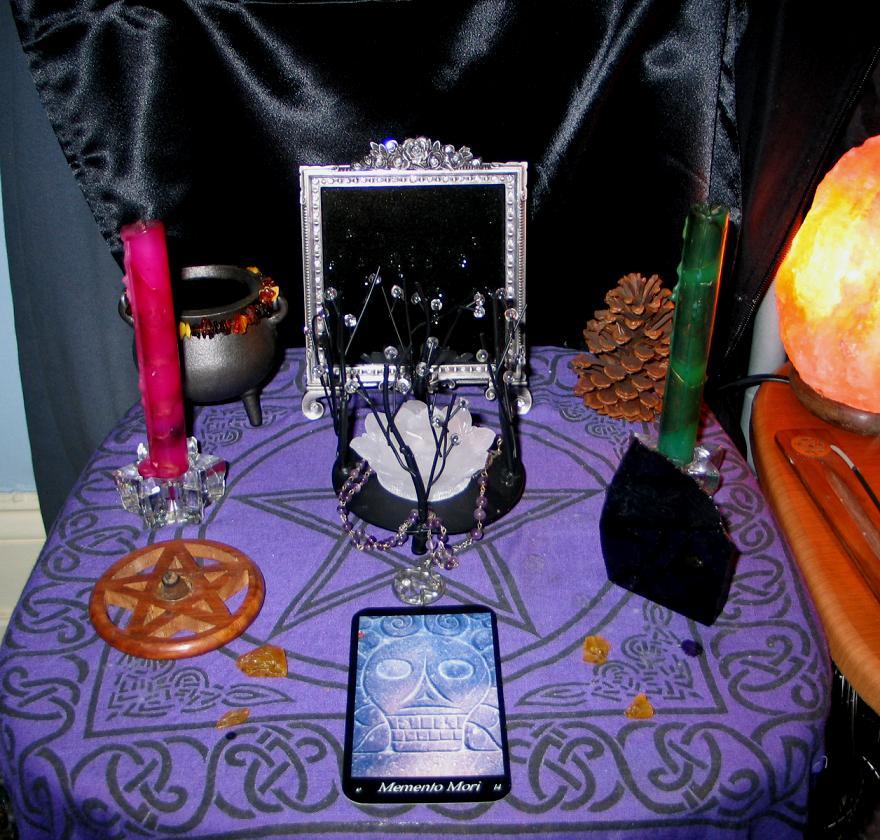 samhain altar with flash