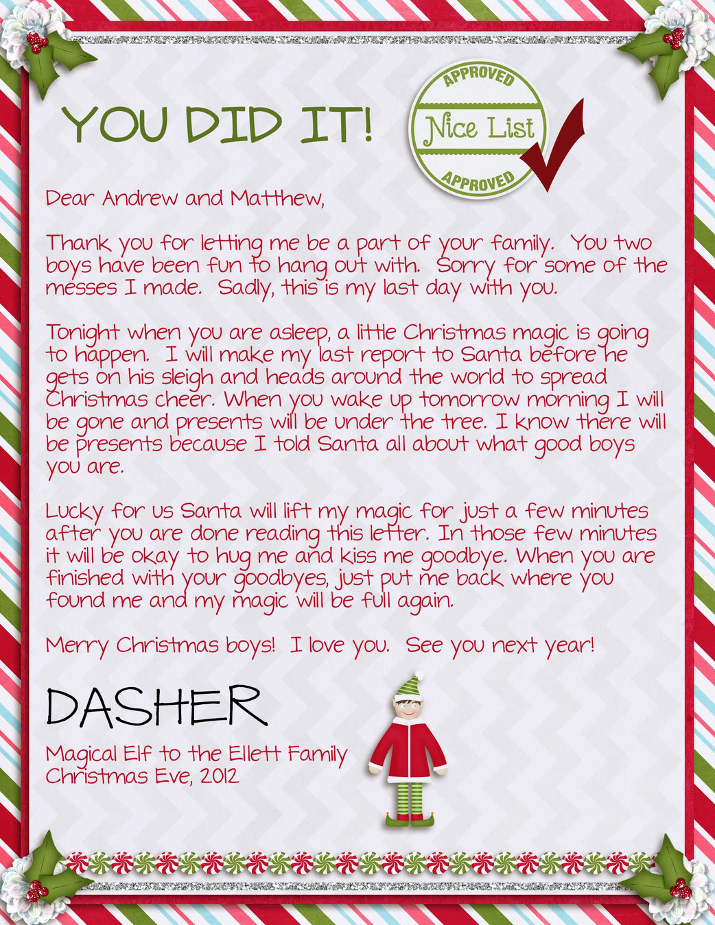 Search Results For Goodbye Elf Letter Templates Free