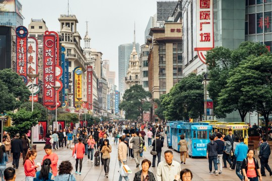 busy Shoppping Street in Shanghai, China