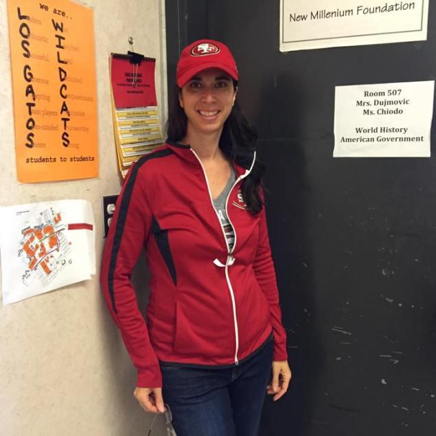 Ms. Dujmovic shows her wildcat pride!