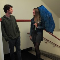 """""""Isn't it bad luck to have an umbrella open inside?"""" """"I don't believe in bad luck."""""""