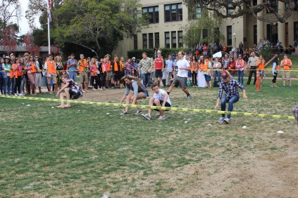 Students play California Snowball Fight during lunch.