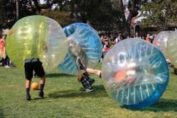 The juniors dominate in bubble soccer.