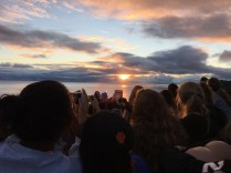 BRIGHT AND EARLY: Classes gather early to watch the sunrise on the last day of the trip.