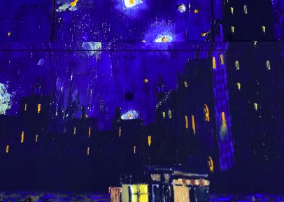 A deep indigo sky, speckled with stars, illuminates Van Gogh's ethereal depiction of this midnight cityscape.