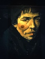 An unnamed peasant, hardened by a life of poverty, observes the somber crowd in this portrait by Van Gogh.