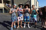 These junior boys throw up their west coast representing hand signs.
