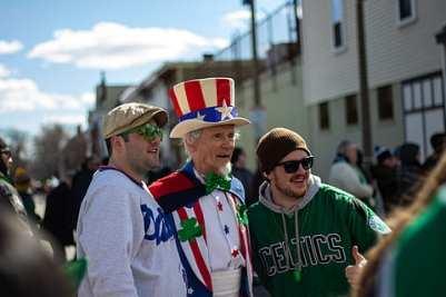 Aficionados de los Celtics en un desfile de San Patricio